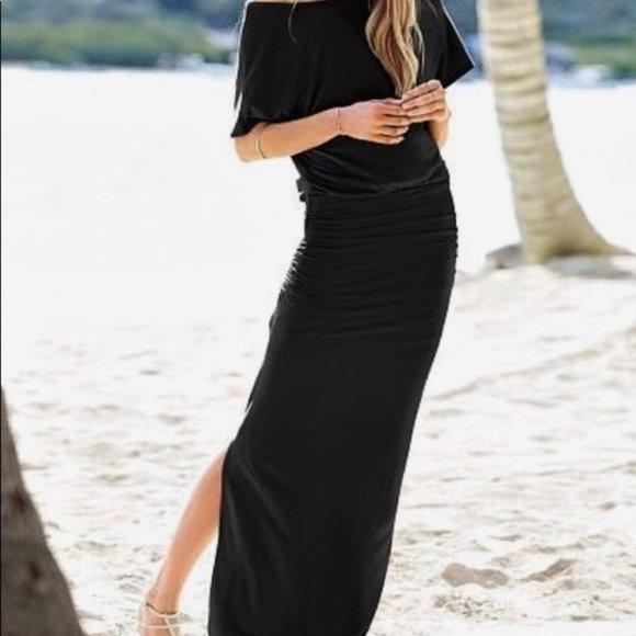 Victoria's Secret off shoulder maxi ruched dress